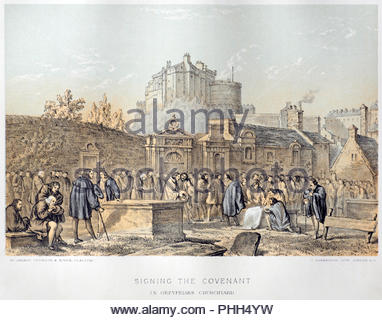 Signing of the National Covenant in Greyfriars Churchyard Edinburgh, on the 28th of February 1638,  antique illustration from 1879 - Stock Photo