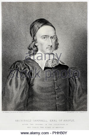 Archibald Campbell portrait, 1st Marquess of Argyll, 8th Earl of Argyll, chief of Clan Campbell, 1607 – 1661 was a Scottish nobleman, politician, and peer, antique illustration from 1829 - Stock Photo