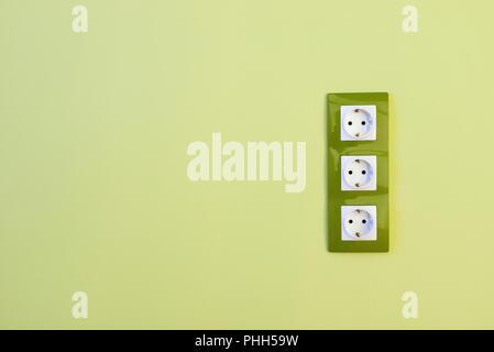 Euro green electric sockets - Stock Photo