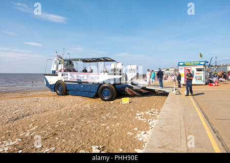 The Wash Monster sea trip vehicle on the beach at Hunstanton, West Norfolk, UK 2018 - Stock Photo