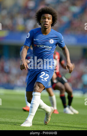 London, UK. 1st September, 2018. Willian of Chelsea during the Chelsea vs AFC Bournemouth Premier League match at Stamford Bridge on Saturday 1st September 2018  EDITORIAL USE ONLY No use with unauthorised audio, video, data, fixture lists (outside the EU), club/league logos or 'live' services. Online in-match use limited to 45 images (+15 in extra time). No use to emulate moving images. No use in betting, games o Credit: MARTIN DALTON/Alamy Live News - Stock Photo
