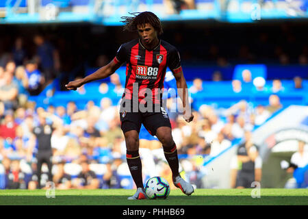 London, UK. 1st September, 2018. Nathan Ake of AFC Bournemouth in action. Premier League match, Chelsea v AFC Bournemouth at Stamford Bridge in London on Saturday 1st September 2018.  this image may only be used for Editorial purposes. Editorial use only, license required for commercial use. No use in betting, games or a single club/league/player publications. pic by Steffan Bowen/ Andrew Orchard sports photography/Alamy Live news - Stock Photo