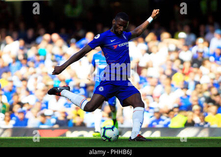 London, UK. 1st September, 2018. Antonio Rudiger of Chelsea takes a shot at goal. Premier League match, Chelsea v AFC Bournemouth at Stamford Bridge in London on Saturday 1st September 2018.  this image may only be used for Editorial purposes. Editorial use only, license required for commercial use. No use in betting, games or a single club/league/player publications. pic by Steffan Bowen/ Andrew Orchard sports photography/Alamy Live news - Stock Photo