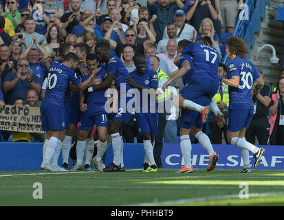 London, UK. 1st September, 2018. Pedro of Chelsea celebrates scoring the opening goal during the Chelsea vs AFC Bournemouth Premier League match at Stamford Bridge on Saturday 1st September 2018 EDITORIAL USE ONLY No use with unauthorised audio, video, data, fixture lists (outside the EU), club/league logos or 'live' services. Online in-match use limited to 45 images (+15 in extra time). No use to emulate moving images. No use in betting, games o Credit: MARTIN DALTON/Alamy Live News - Stock Photo
