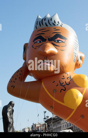 London, UK. 1st September, 2018. Detail of The Sadiq Khan Bikini blimp after being launched in Parliament Square. Organiser Yanny Bruere mocking the Mayor of London 'ban the bikini' policy and highlighting the high crime rate in the capital. Credit: joe Kuis/Alamy Live News - Stock Photo