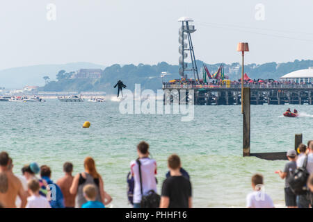 Bournemouth, UK. 1st September 2018. Richard Browning, the founder of Gravity Industries, has a malfunction at Bournemouth Air Festival and ends up crashing into the sea in his jet suit. He is uninjured and walks away with a very wet piece of kit. Part of the annual Air Festival in Bournemouth, Dorset. Credit: Thomas Faull/Alamy Live News - Stock Photo
