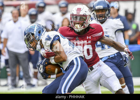 Philadelphia, Pennsylvania, USA. 1st Sep, 2018. Villanova's AARON FORBES (25) in action during the game between Temple and Villanova at Lincoln Financial Field in Philadelphia PA Credit: Ricky Fitchett/ZUMA Wire/Alamy Live News - Stock Photo