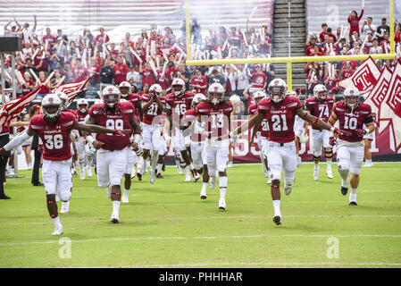Philadelphia, Pennsylvania, USA. 1st Sep, 2018. Temple playes run onto the field before the game between .Temple and Villanova at Lincoln Financial Field in Philadelphia PA Credit: Ricky Fitchett/ZUMA Wire/Alamy Live News - Stock Photo