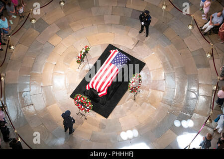 Photo taken from the Dome of the United States Capitol of the Lying in State honoring the late US Senator John McCain (Republican of Arizona) in the US Capitol Rotunda in Washington, DC on Friday, August 31, 2018. Credit: Ron Sachs/CNP/MediaPunch (RESTRICTION: NO New York or New Jersey Newspapers or newspapers within a 75 mile radius of New York City)/MediaPunch - Stock Photo