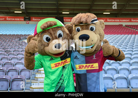 London, UK. 1st September, 2018. Harlequins Mascot during Gallagher Premiership match between Harlequins and Sale Sharks at Twickenham Stoop on Saturday, 01 September 2018. LONDON ENGLAND. Credit: Taka G Wu Credit: Taka Wu/Alamy Live News - Stock Photo