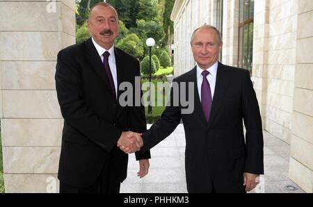 Sochi, Russia. 1st Sept, 2018. Russian President Vladimir Putin welcomes Azerbaijan President Ilham Aliyev, left, for bilateral meeting at his Black Sea resort residents September 1, 2018 in Sochi, Russia. Credit: Planetpix/Alamy Live News - Stock Photo