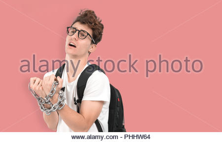 Concept of a prisoner young student - Stock Photo