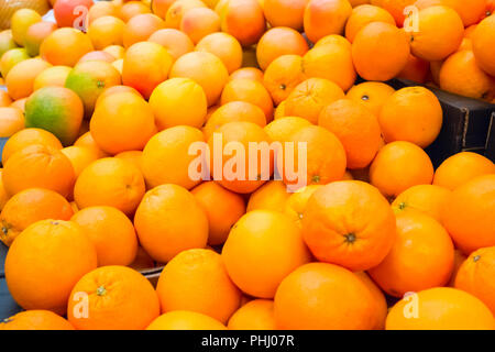 Pile of fresh oranges and mandarins - Stock Photo