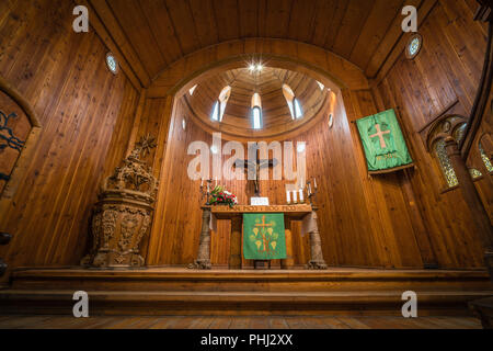 Altar inside the medieval Wang Temple - Stock Photo