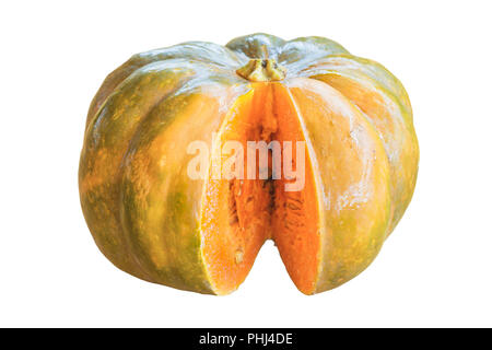 Sliced pumpkin isolated on white - Stock Photo