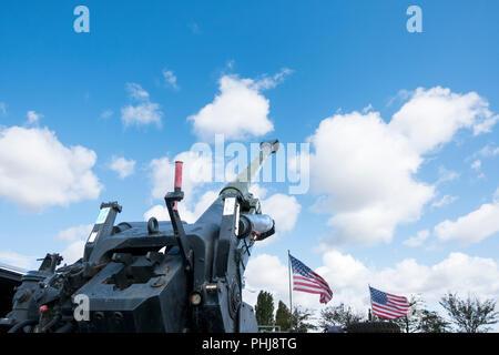 Large calibre artillery cannon in firing position Stock Photo