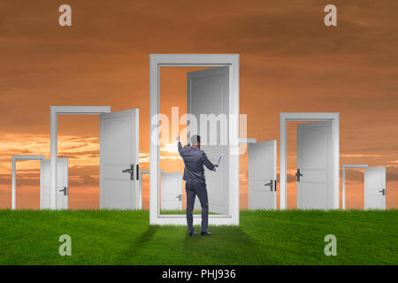 Businessman facing many business opportunities Stock Photo