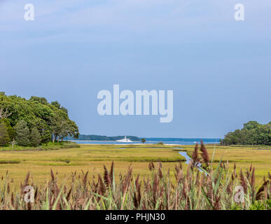 a large yacht off the shore of a nature preserve in North Haven NY - Stock Photo