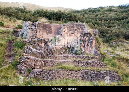 Ruin Spring in Tambomachay or Tampumachay, archaeological site associated with the inca empire, located near Cusco - Stock Photo