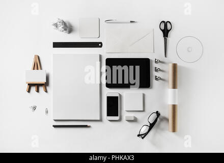 Stationery and gadgets - Stock Photo