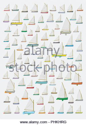 Small Sail Boat Pattern, Catboats, Nautical, Decorative, Background, lllustration, Collection, Miniature, Wallpaper, Wrapping Paper, Fabric, Textile - Stock Photo