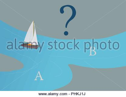 Sail Boat deciding which way to go, A or B?, Business Direction Concept, Question Mark, Decision Making, Illustration, Planning, Navigation - Stock Photo