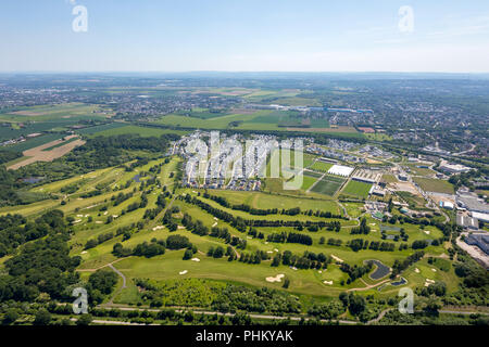 Aerial view, residential area Hohenbuschey of DSW21 Dortmund, Hohenbuschey GMBH, single family houses, living at the golf course, former barracks, Dor - Stock Photo