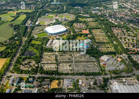Luftbild, ARENA PARK Gelsenkirchen, Veltins-Arena, Arena AufSchalke in Gelsenkirchen ist das Fußballstadion des deutschen Fußball-Bundesligisten FC Sc - Stock Photo