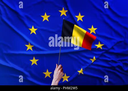Flag of the European Union and Belgium - Stock Photo