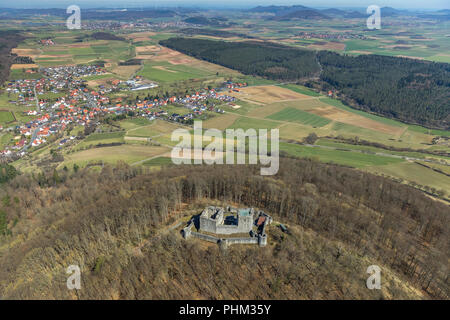 Weidelsburg is the ruin of a mountain castle near Ippinghausen in Wolfhagen, nature parks Habichtswald, Ippinghausen in the district Kassel, Hessen, G - Stock Photo