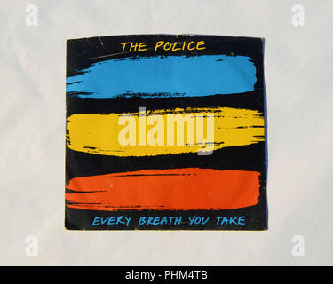 Sleeve/Cover of the 45 RPM vinyl record of The Police's song 'Every Breath You Take' released in 1983 by A&M Records. - Stock Photo