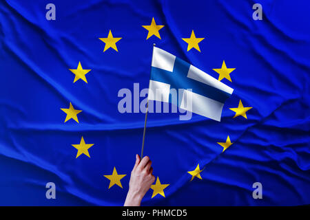 Flag of the European Union and Finland - Stock Photo