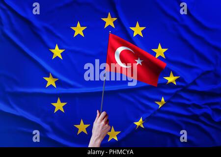 Flag of the European Union and Turkey - Stock Photo