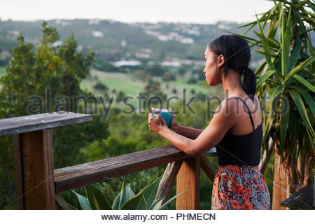 Young woman watching sunset with pet dog - Stock Photo