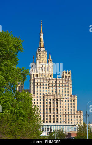 Stalin's famous skyscraper on Kudrinskaya Square - Moscow Russia - Stock Photo