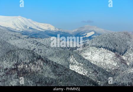 Winter snowy Carpathian mountains, Ukraine - Stock Photo