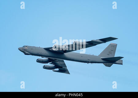 Oshkosh, WI - 28 July 2018:  A B-52 stratofortress flies pass at the EAA airshow. - Stock Photo