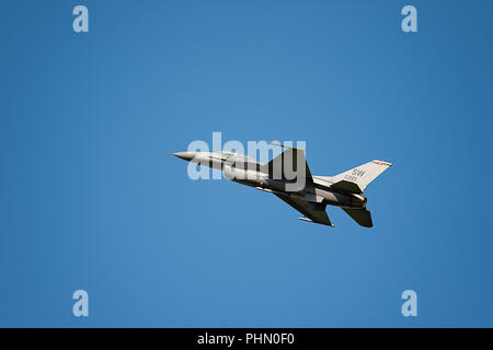 Oshkosh, WI - 28 July 2018:  A F-16 flying falcon at the EAA airshow. - Stock Photo