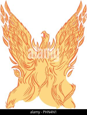 Vector clip art cartoon illustration of a phoenix or firebird made of fire or flames rising into the air with wings spread. - Stock Photo