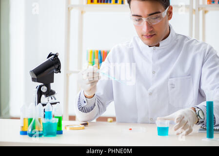 Young chemist student working in lab on chemicals - Stock Photo