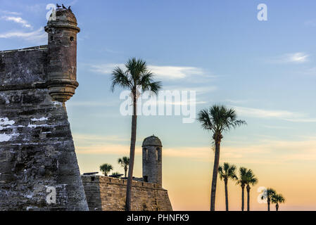 St. Augustine, Florida's Castillo de San Marcos, the oldest masonry fort in the continental United States, at sunrise on Matanzas Bay. - Stock Photo