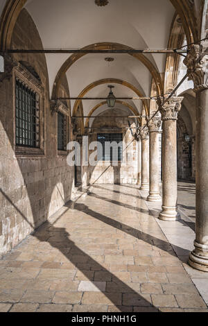 Arched corridor in Dubrovnik Old Town - Stock Photo
