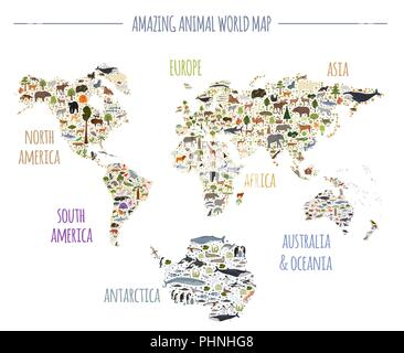 Flat world flora and fauna map constructor elements. Animals, birds and sea life isolated big set. Build your own geography infographics collection. V - Stock Photo