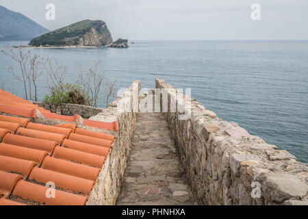 Old Town Walls in Budva - Stock Photo