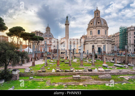Sunset view of Rome, Italy.  The Trajan's Forum and Basilica Ulpia, in Rome, Italy. - Stock Photo