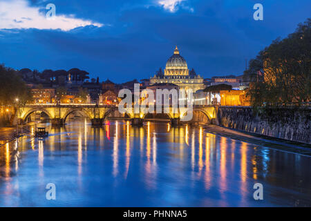 Rome at night, Italy. St. Peter's cathedral with bridge in Vatican, Rome, Italy. - Stock Photo