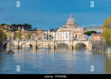 Beautiful view of St. Peter's cathedral with bridge in Vatican, Rome, Italy. - Stock Photo