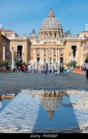 View of Saint Peters Square in the Vatican, Rome, Italy. - Stock Photo