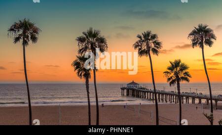 California beach at sunset - Stock Photo