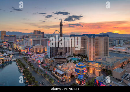 Aerial view of Las Vegas strip in Nevada as seen at sunrise. - Stock Photo